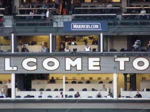 Hawk and Stone in the Safeco Field broadcast booth